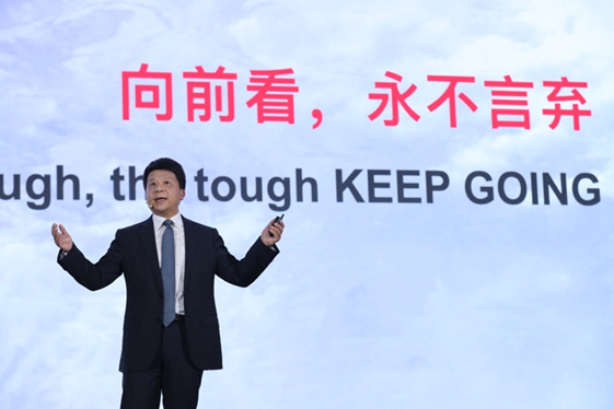 Huawei Deputy Chairman Guo Ping gives the keynote speech at Huawei Global Analyst Summit in April 2020.