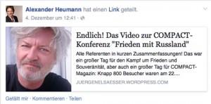 Elsässer-Fan Alexander Heuman (AfD), Screesho facebook