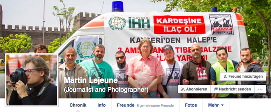 Martin Lejeune auf Syrien-Tour mit Ansaar International, foto: Screenshot