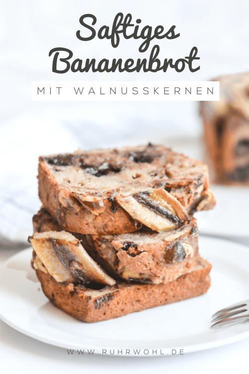 Bananenbrot gesund: Ein Rezept für saftiges Bananenbrot mit Walnusskernen und dunkler Schokolade #bananenbrot #backen #ausdemOfen