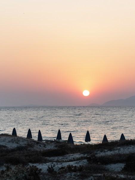 Urlaub auf Kos in Griechenland: Strand Marmari Beach im Sonnenuntergang