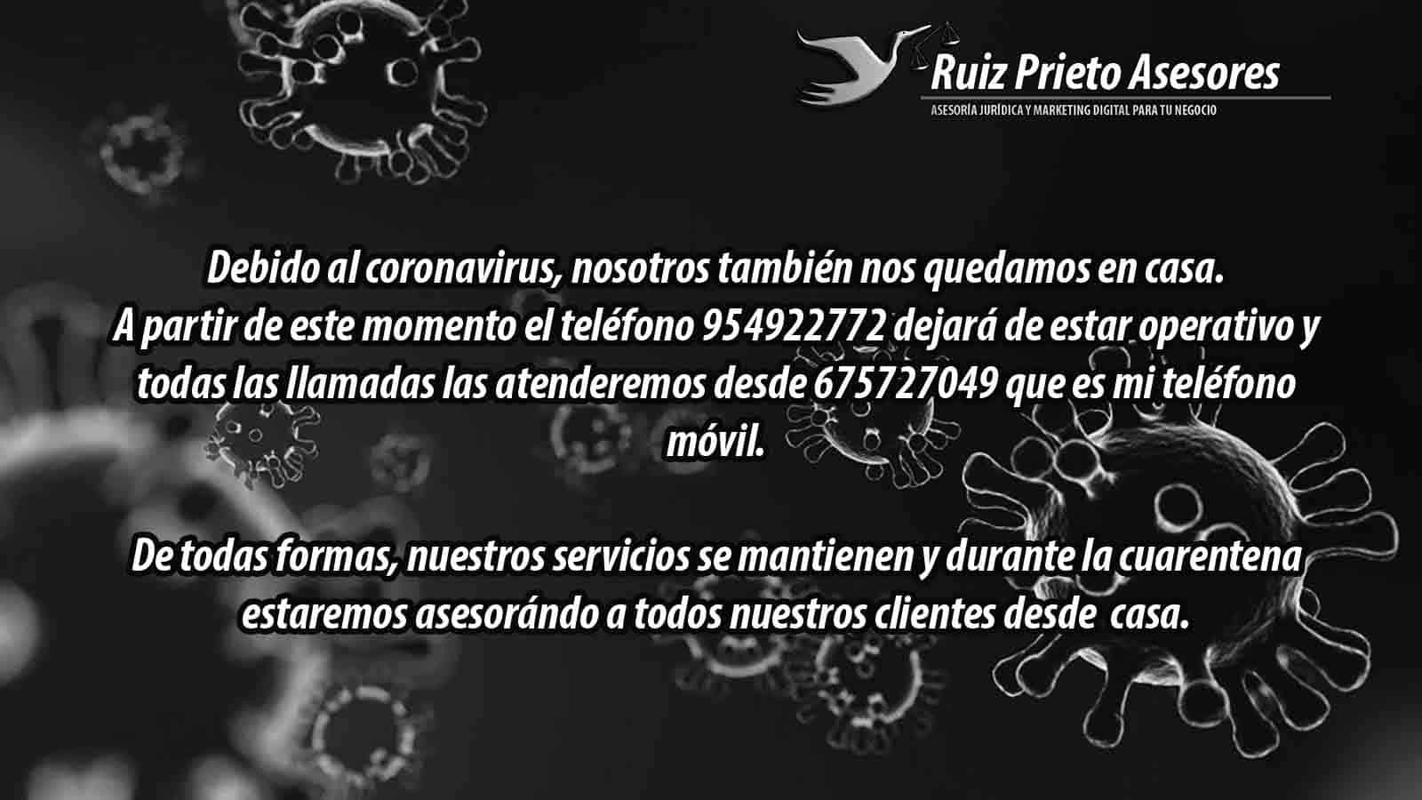 Coronavirus y servicuos de Ruiz Prieto Asesores