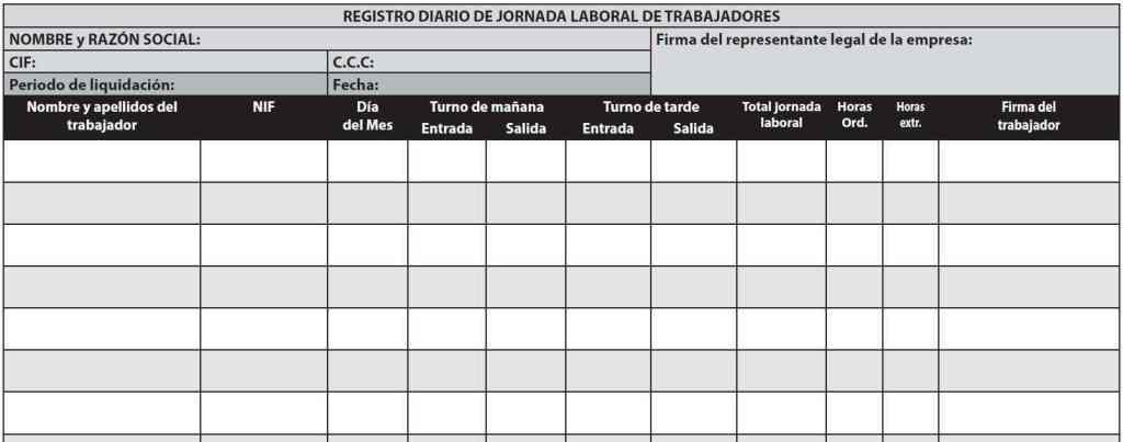 Registro Jornada laboral de trabajadores