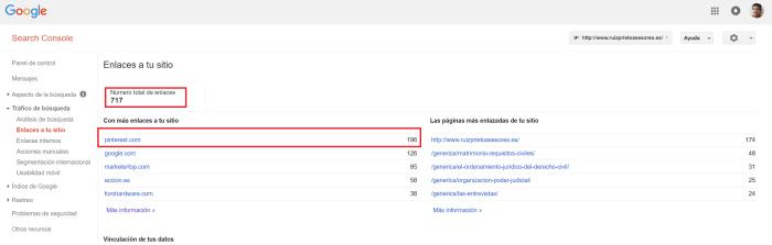 La consola de Google webmaster donde se muestra la cantidad de enlaces obtenidos de Pintersest