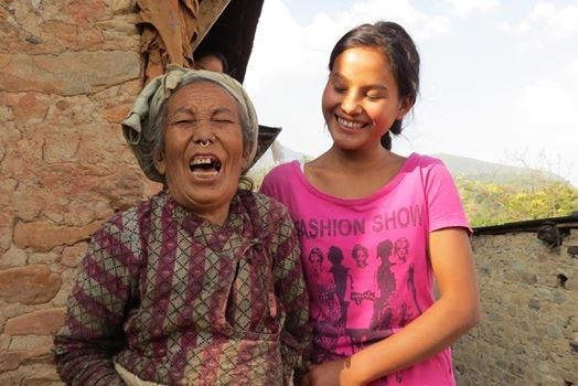 Anju Theeng with Grandmother Smiling