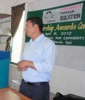 Principal Shyam Shrestha addresses the crowd