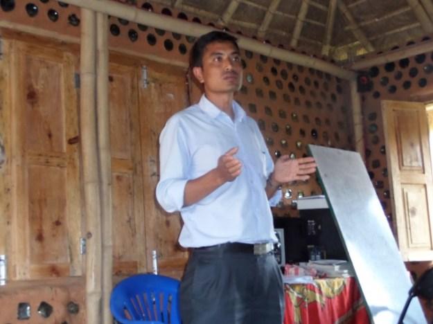 Mr. Binod K.C., Principal of Shikharapur School addresses the group
