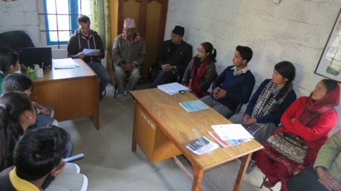 Rukmini Foundation's CTO, Sandesh working with the nine students to help them get ready for the interview.