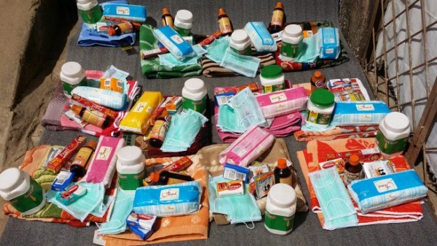 health prevention goods, water guard, toothpaste, sanitary pads, phynyle etc