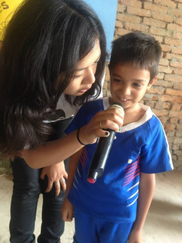 little boy sharing his experience during earthquake
