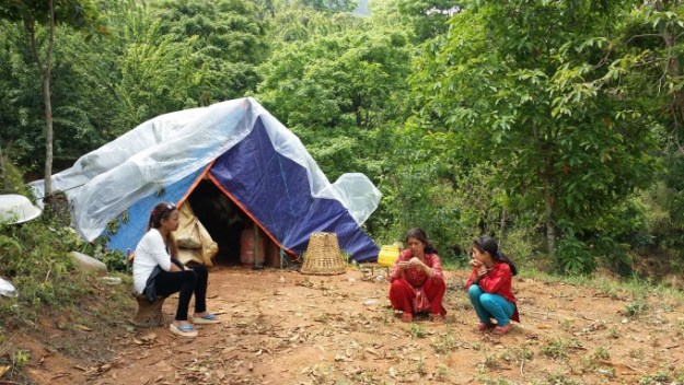 RF mentor Pramila (left) inspects Sunita and her Mother's current living condition