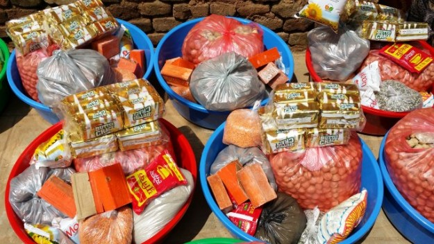 Relief goods including essential items such as rice, lentil, grains, salt, soaps, biscuits…etc.