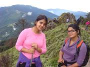 Prabriti & Prakriti (left to right) on a trek in a remote region of Nepal.