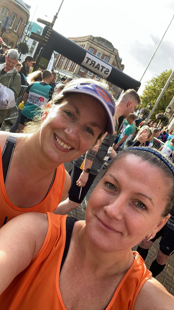 Ruth & Christine before the start of Northampton Half Marathon
