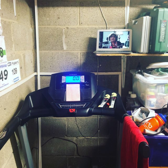 Running treadmill set up.