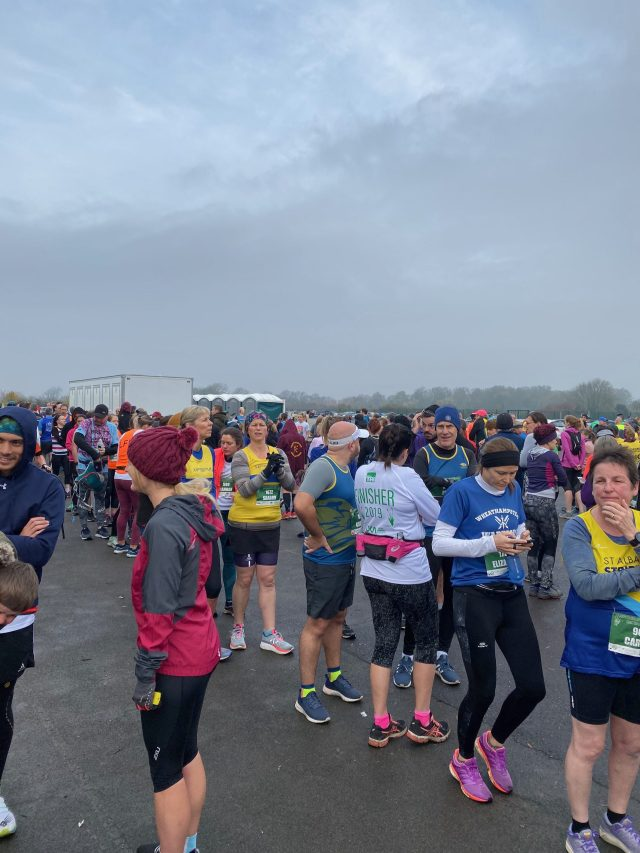 Toilet queues at St. Neots Half Marathon 2019.