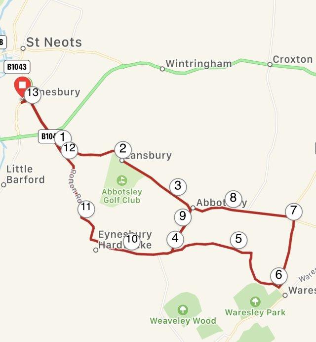 St. Neots Half Marathon Route.