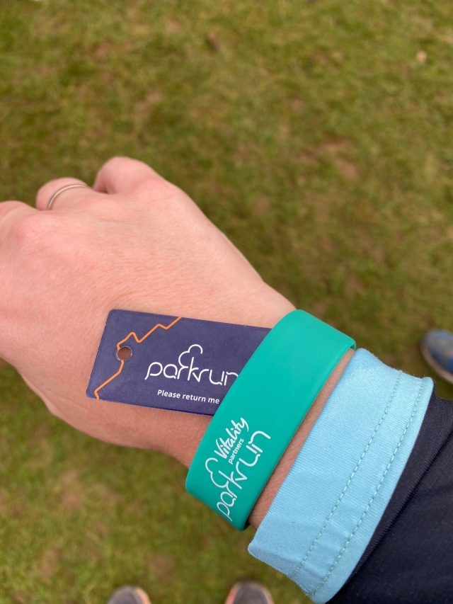 Parkrun band and tag.