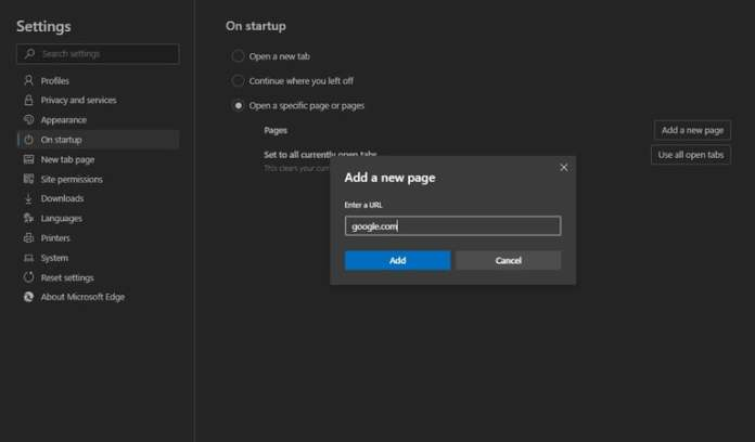 how to make google as homepage in windows 10