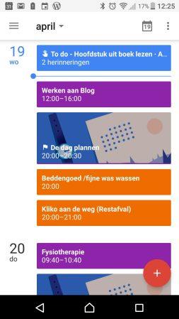 Mijn agenda in de Google Calendar app