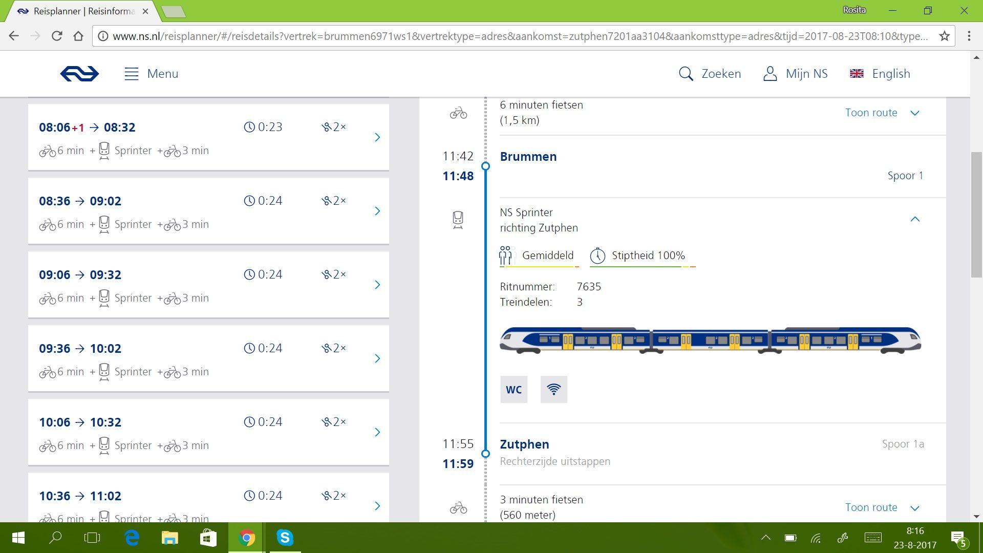 mijn geplande treinreis
