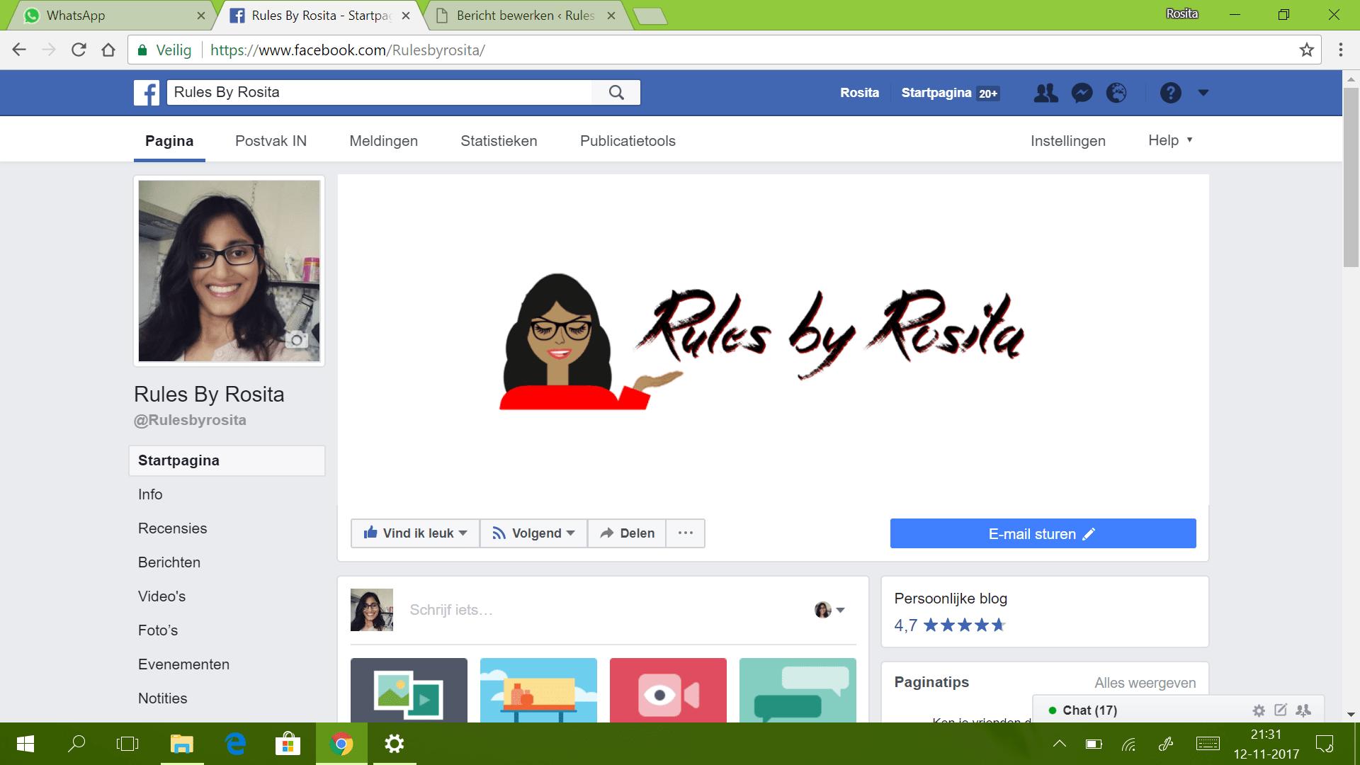 Mijn Facebookpagina van mijn blog.