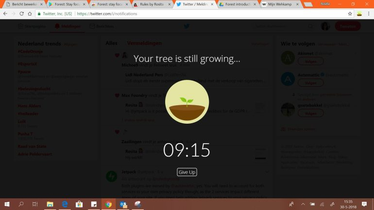Deze website kun je dus niet gebruiken, als je Forest gebruikt, tenzij je je boom doodt.