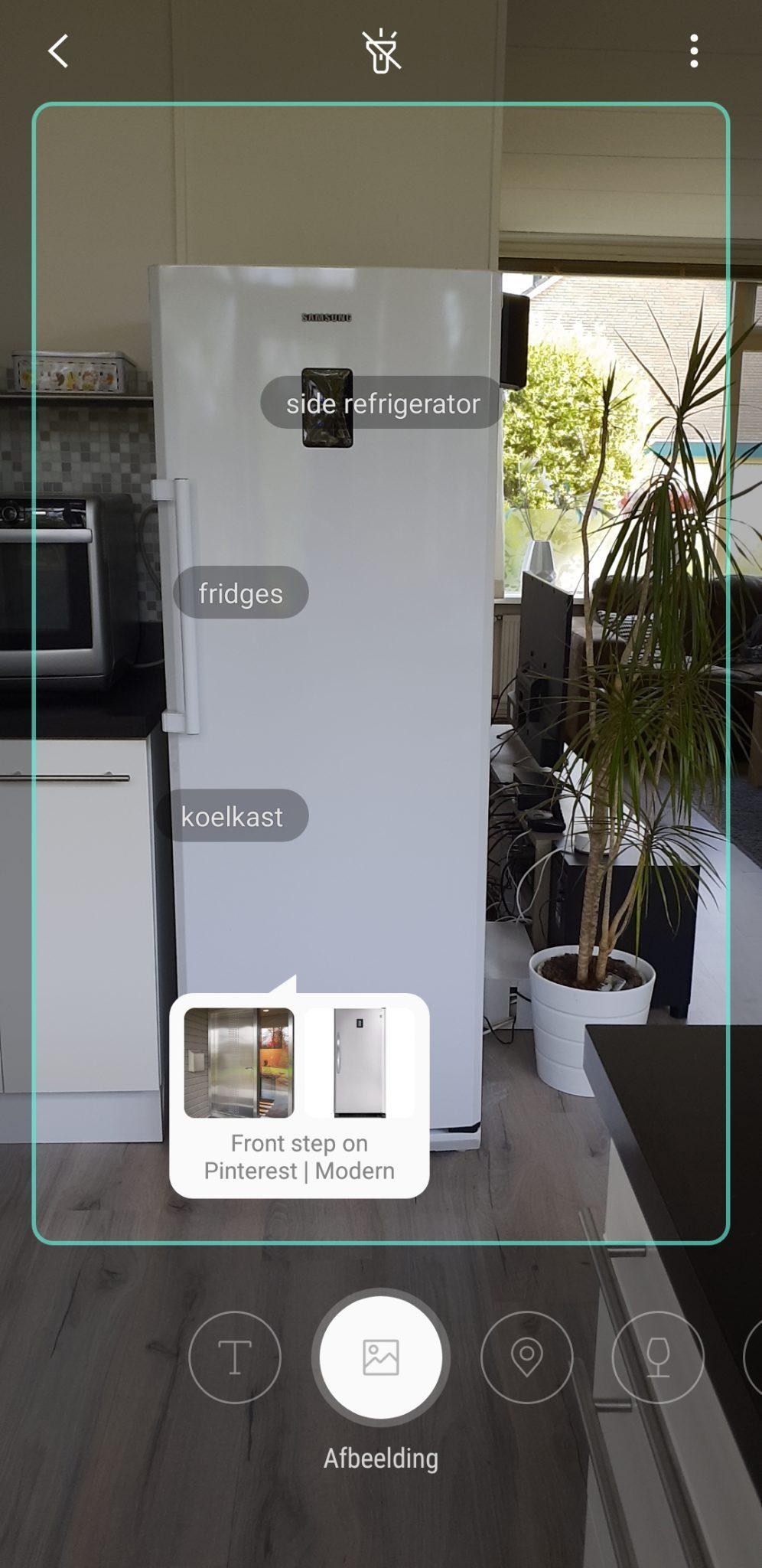 Informatie opzoeken over mijn koelkast met Bixby Vision