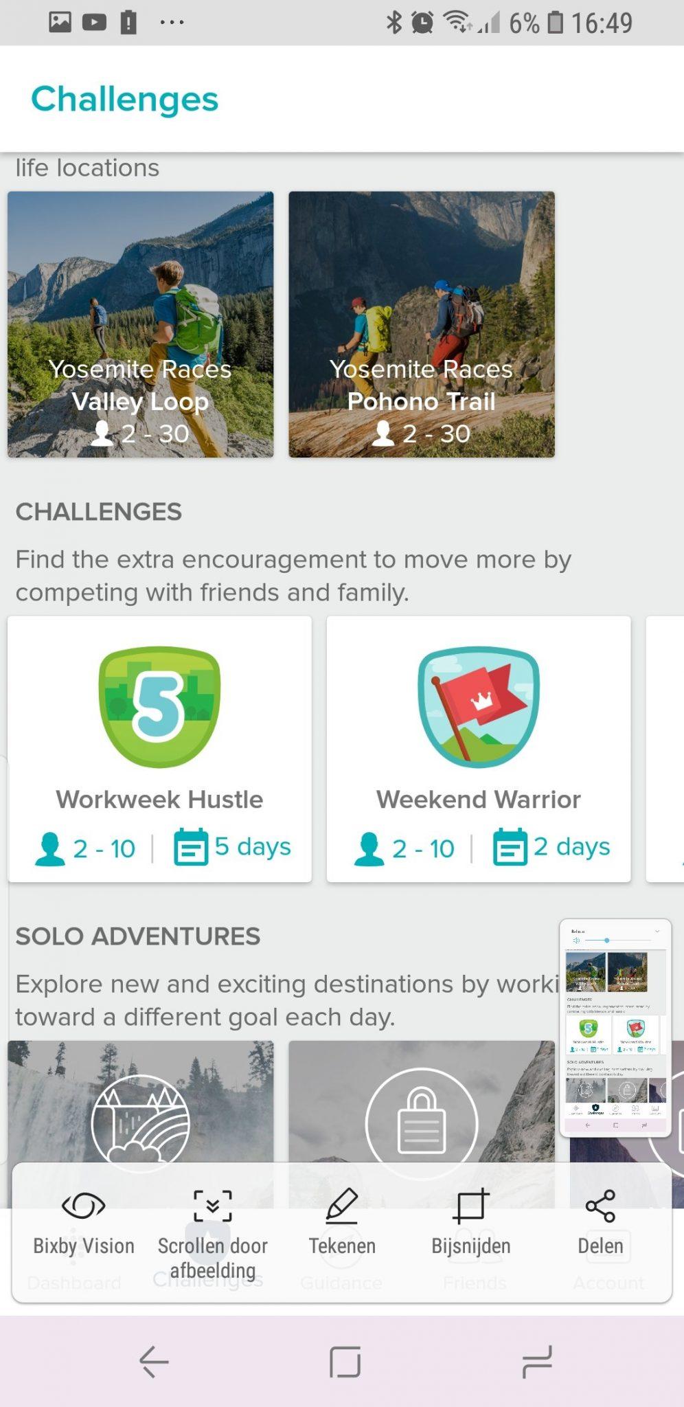 Uitdagingen in de Fitbit app.