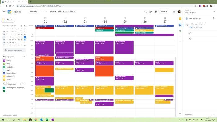 Google agenda met rechts Taken, de bijna perfecte planner.