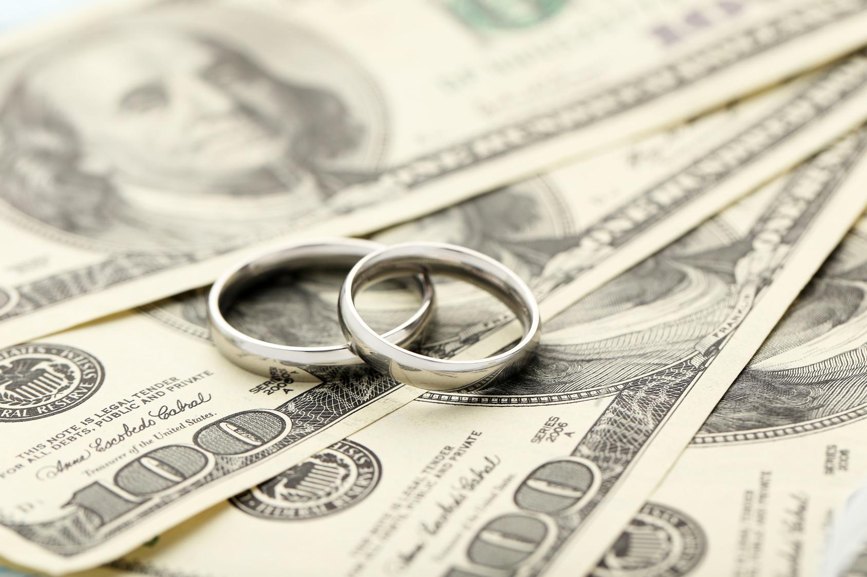 Silver Wedding Rings On One Hundred Dollars Bill