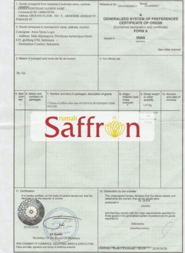 sertifikat saffron super negin iran, distributor saffron, rumah saffron