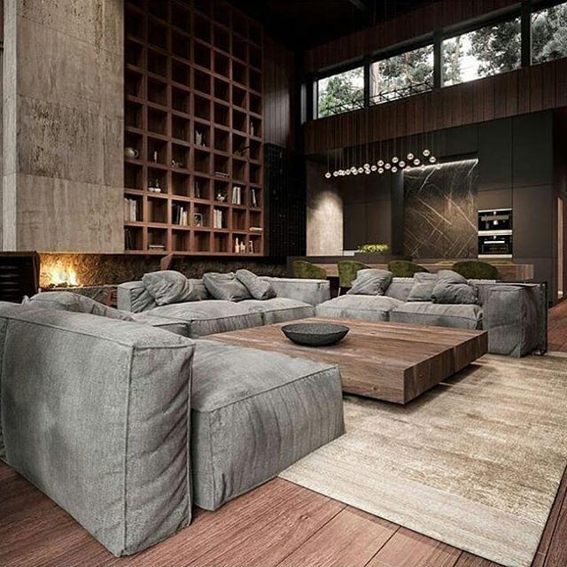 Sofa nyaman dan rak buku raksasa