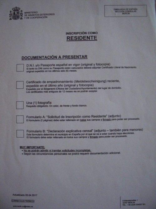 documentación para inscribirse en el consulado español de Alemania