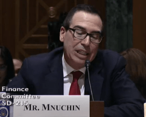 Mr. Mnuchin twitches and purses his lips while answering questions