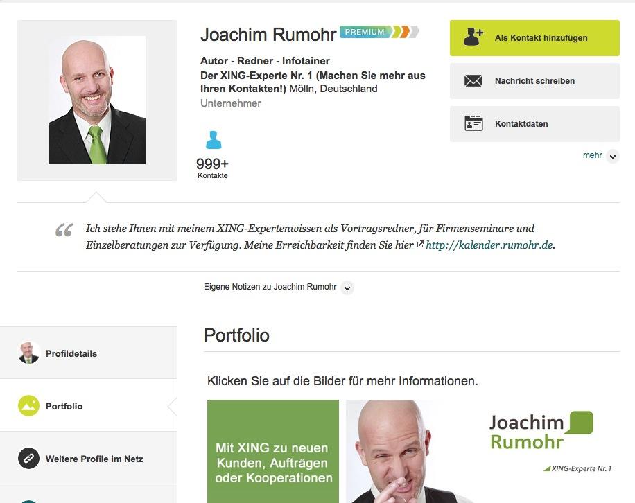 XING-Profil des XING-Experten Nr.1 Joachim Rumohr (Quelle: www.rumohr.de)