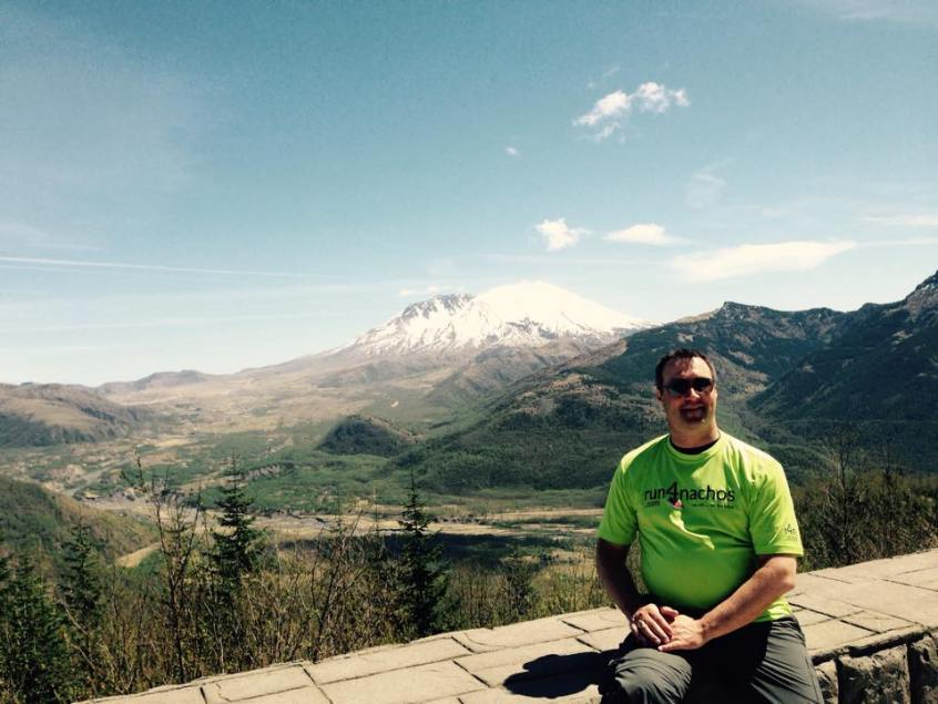 Jamie with Mount St Helens in the background