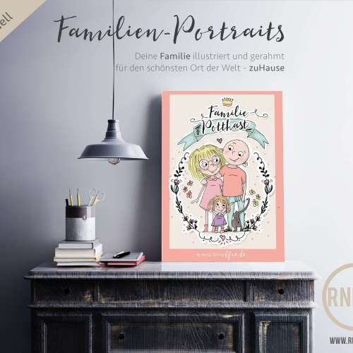 Illustrierte Familienporttraits