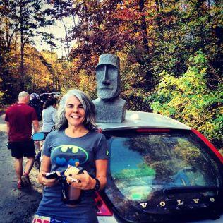 Karen with the Moai - Photo by Bren Tompkins