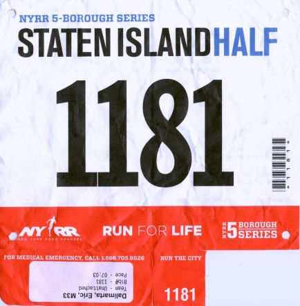 Finished in 1:36:43, pace 7:23 — in Staten Island, NY.