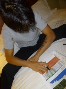 Writing my cheat sheet - photo by Elaine