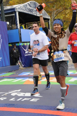 I was crossing the finish line