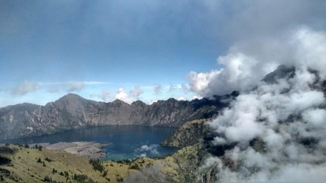 The closer look of the Segara Anak Lake, halfway down from Sembalun Rim
