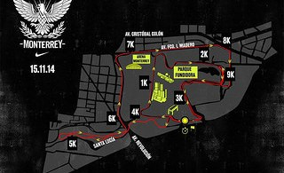 Ruta de la carrera Nike We Run Monterrey 2014