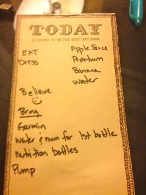 My list for race morning.