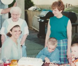 My grandmother and I probably somewhere around 1996-1996.