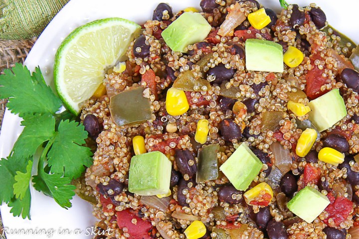 Close up of One Pan Mexican Quinoa on a white plate.