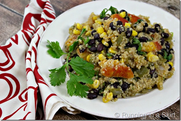 One Skillet Mexican Quinoa - all the best Mexican flavors in a healthy, easy package! / Running in a Skirt