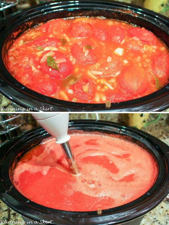 Tomato Basil Soup in the Crock Pot.
