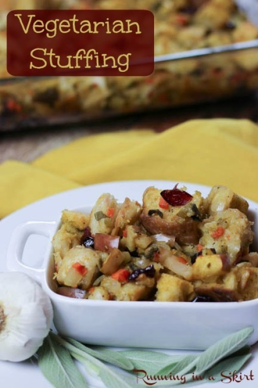 The best Vegetarian Stuffing- features apples, sage, cranberries, celery and carrots! Family favorite featured on Huffington Post/ Running in a Skirt